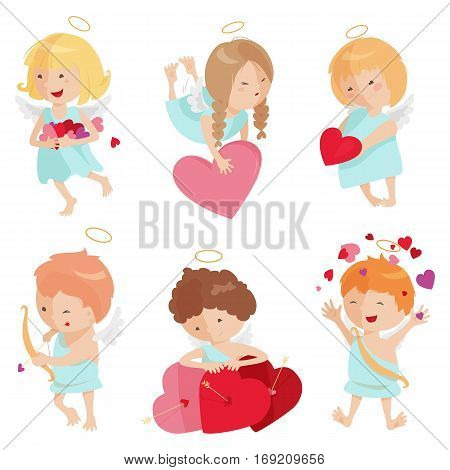 Cute angels isolated on white background. Vector illustration for cartoon holiday design. Set of children. Happy valentine day cupid. Romantic couple icons. Red heart, arrow, bow, halo