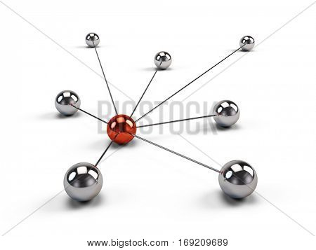 Concept of Network, internet communication and social media. 3d illustration