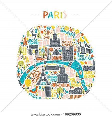 Map of Paris drawn by hand. Illustration for travel guide, poster or apparel design.