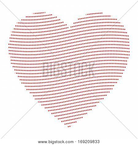 Dotted heart in wavy arrangement. Valentine Day theme. Simple halftone vector illustration.