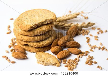 Integral Cookies With Hazelnuts And Seeds On White