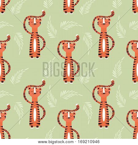 Seamless pattern with cute jungle orange tiger vector illustration