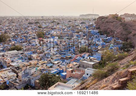 Jodhpur, the Blue City seen from Mehrangarh Fort, Rajasthan, India, Asia