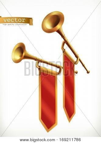 Fanfare. Gold trumpet, 3d vector icon