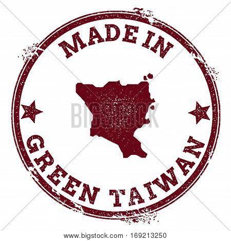 Green Island, Taiwan Seal. Vintage Island Map Sticker. Grunge Rubber Stamp With Made In Text And Map