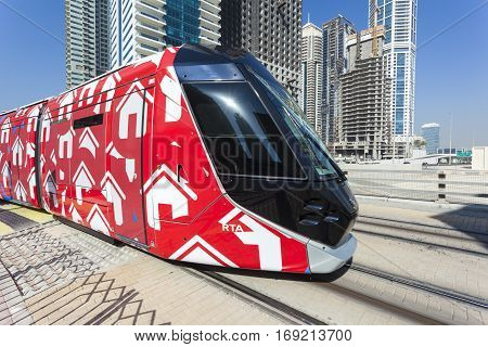 DUBAI UAE - DEC 5 2016: Modern trolley car at the new tram service in the city of Dubai. United Arab Emirates Middle East