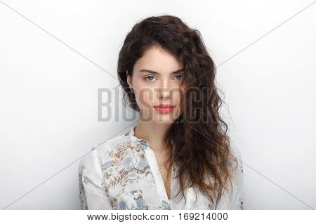 Beauty Portrait Of Young Adorable Fresh Looking Brunette Woman With Long Brown Healthy Curly Hair. E