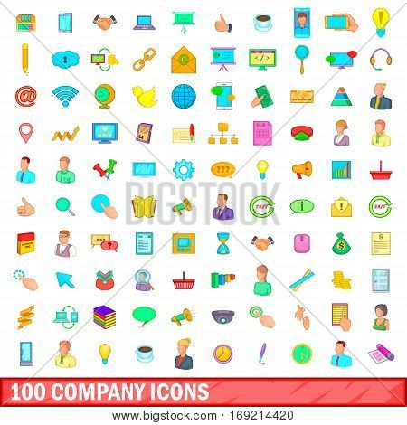100 company icons set in cartoon style for any design vector illustration