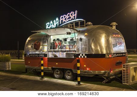 DUBAI UAE - DEC 4 2016: Airstream caravan food truck at the Last Exit food trucks park on the E11 highway between Abu Dhabi and Dubai