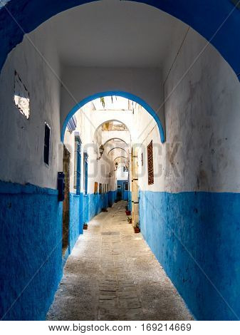 Blue-White alleyway in Medina of Larache, Morocco