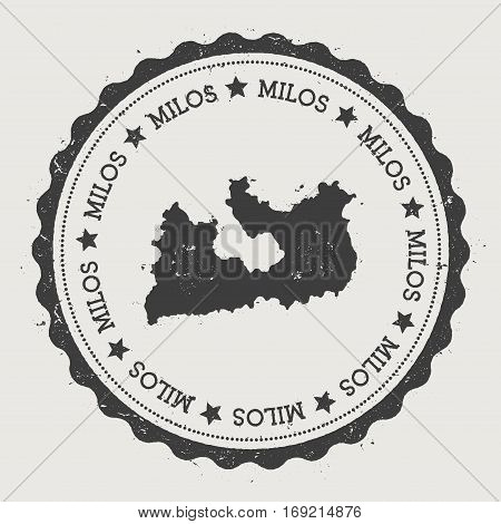 Milos Sticker. Hipster Round Rubber Stamp With Island Map. Vintage Passport Sign With Circular Text