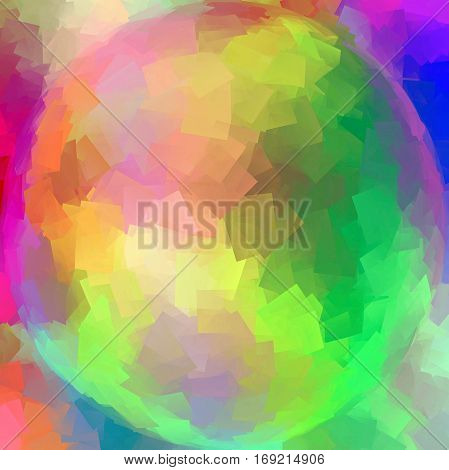 Abstract coloring background of the pastel rainbow gradient with visual cubism and spherize effects