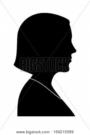Woman Silhouette. Vector Illustration Of A Profile Wiew.