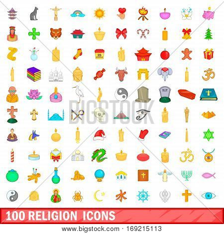 100 religion icons set in cartoon style for any design vector illustration