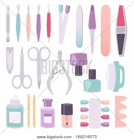 Manicure instruments set on white background top view. Hygiene hand care pedicure salon tweezers fingernail. Fashion personal cosmetics equipment vector.