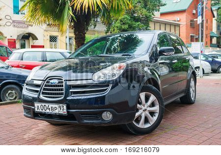 Sochi, Russia - October 12, 2016: Beautiful black Subaru Forester parked on the street of Sochi City.