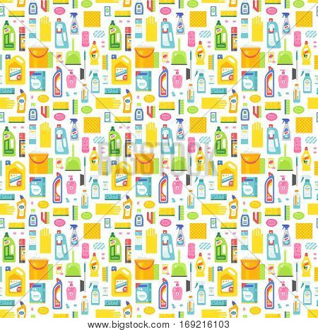 Cleaning tools washing housework dishes and broom bottle sponge icons seamless pattern vector illustration. Background cleaner backdrop textile printing and wrapping paper.