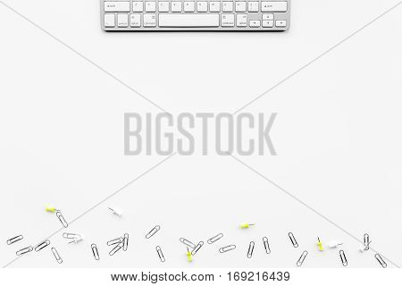 female desktop with keyboard top view mock up no one