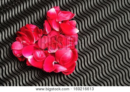 Valentines day. A heart made out of red rose petals