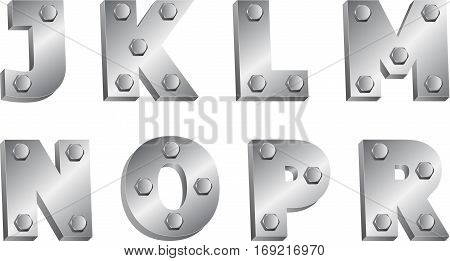 metal font with bolts - clip art illustration