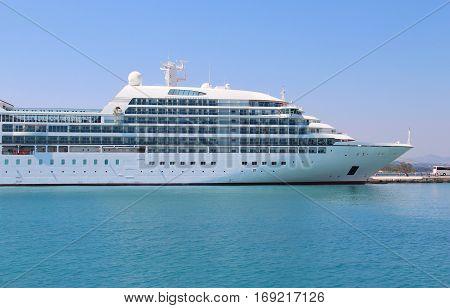 Beautiful cruise ship and blue sea Korfu Greece