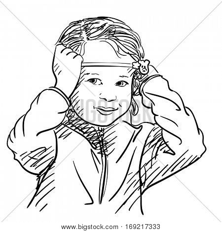 Baby girl smiling, holding headband and looking forward, Hand drawn illustration isolated black lines on white, Vector sketch