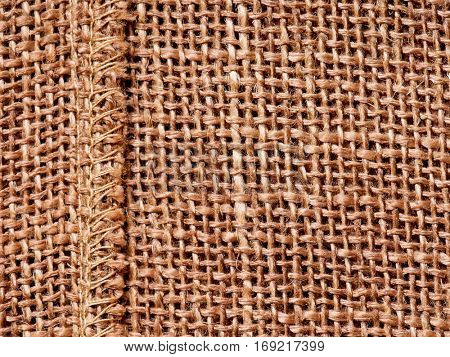 Closeup of a natural burlap texture for the background - top view