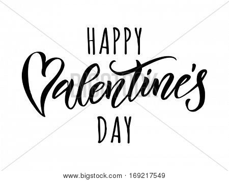 Valentines heart calligraphy text for greeting card with black font on white background. Valentines day 14 February love vector congratulation design