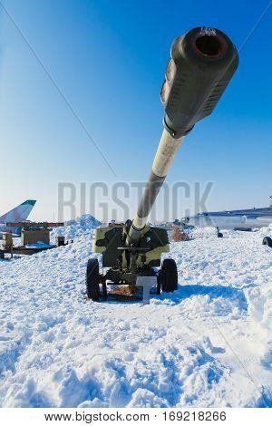 Big gun in artillery museum in Russia in the winter street