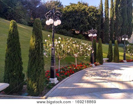 Corner of Bahai Gardens of Haifa .