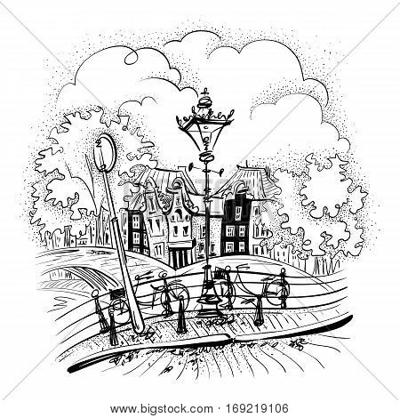 Black and white hand drawing, city view of Amsterdam typical houses, bridges and streetlight, Holland, Netherlands.