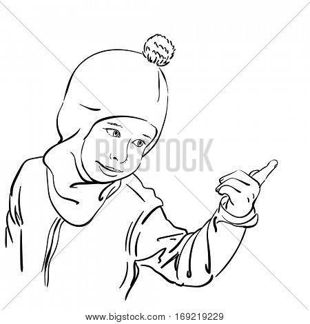 Little girl in balaclava hat with bubo pointing with finger, Hand drawn vector illustration