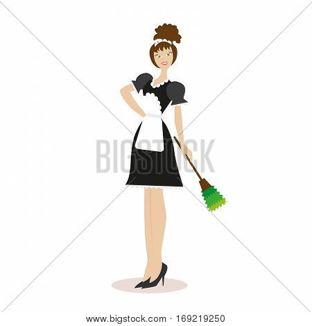 Housekeeper in working clothes isolated on white background. Flat character isolated on white background. Vector, illustration EPS10
