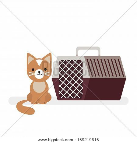 The cat sits next to moving the animal. Vector, illustration isolated on white background EPS10