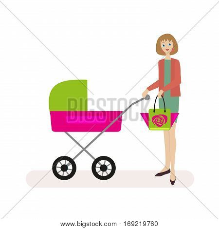 Mum walks with the child in the stroller. Flat character isolated on white background. Vector, illustration EPS10