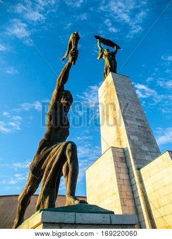Bottom view of Liberty Statue on Gellert Hill in Budapest, Hungary, Europe.