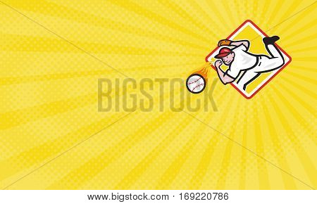 Business card showing Illustration of an american baseball player pitcher outfielder throwing a fire fiery ball set inside diamond shape.