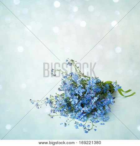 Beautiful spring bouquet of flowers forget-me-not on a soft blue background. Springtime. Square Card for Mothers Day Birthday wedding.