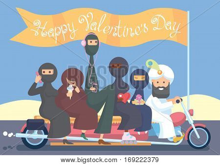 Happy Valentine's Day. Harem bikers. Color vector illustration.