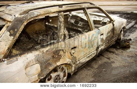Burn-Out Car In City