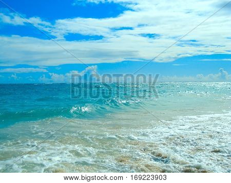 Azure Caribbean Sea. coast of the Dominican Republic. Caribbean Atlantic Ocean