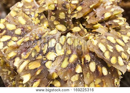 Closeup of delicious arabic sweets. Dubai United Arab Emirates