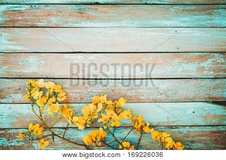 Yellow flowers on vintage wooden background border design. vintage color tone - concept flower of spring or summer background