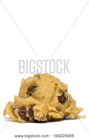 A single ball of chocolate chip cookie dough.