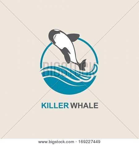 Symbol of killer whale and sea wave. Vector illustration