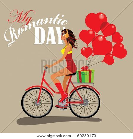 fashion girl on bicycle, romantic day, give gifts, present heart