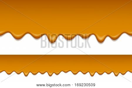 Seamless pattern of melted caramel. Caramel is flowing down. Food background