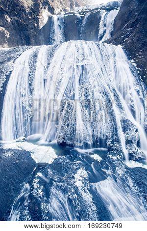 Ice waterfall in winter season Fukuroda Falls Ibaraki prefecture Japan