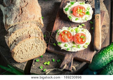 Fresh Sandwich With Fromage Cheese, Cherry Tomatoes And Chive