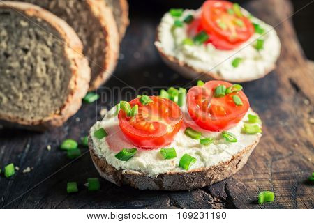 Healthy Sandwich With Fromage Cheese, Cherry Tomatoes And Chive